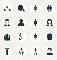 people icons set collection of happy scientist vector image