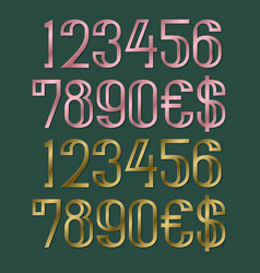 pink and gold numbers with dollar and euro vector image