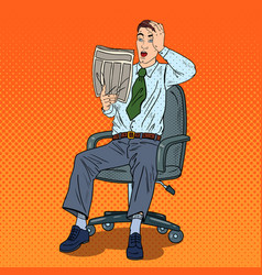 pop art shocked businessman reading newspaper vector image