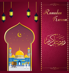 ramadhan kareem greeting card with mosque vector image
