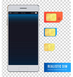 realistic sim phone smartphone icon set vector image