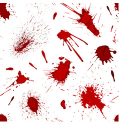 Red blood or paint splatters splash spot seamless vector