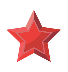red star with shadows isolated on white background vector image
