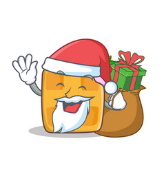 Santa waffle character cartoon design with gift vector