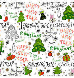 Seamless handwritten pattern with christmas phrase vector