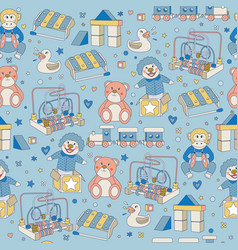Seamless pattern children vintage toys blue vector