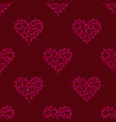 seamless pattern delicate sweet lace pink heart vector image