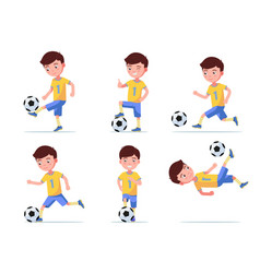 set boy soccer player plays football vector image
