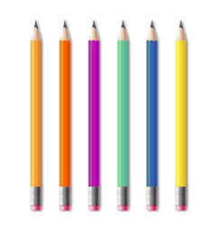 set colored drawing pencils realistic templates vector image