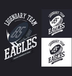 set isolated t-shirt prints for hockey team vector image
