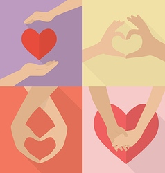 Set of couple hands vector image