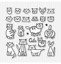 Set of hand drawn funny cats on grey striped vector image