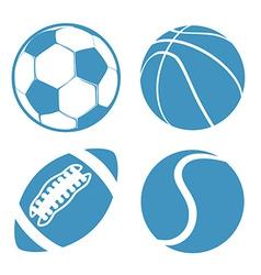 set sports balls soccer basketball american vector image