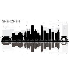 Shenzhen china city skyline black and white vector