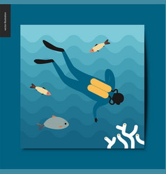Simple things - a scuba diver vector