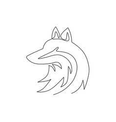 single continuous line drawing cute fox vector image