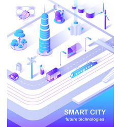 smart city skyscraper and public bus on street vector image