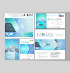 social media posts set abstract flat design vector image
