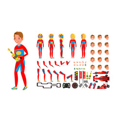 sport car racer male red uniform rally vector image