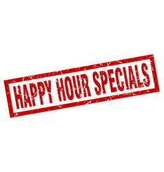 Square grunge red happy hour specials stamp vector