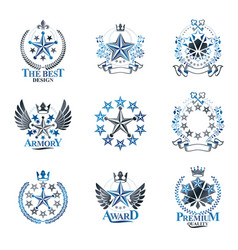 stars emblems set heraldic coat of arms vector image