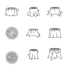 Stumps tree log wood icons set outline style vector