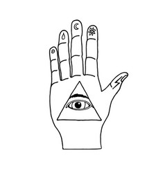 sunburst hand ornaments illuminati symbols vector image