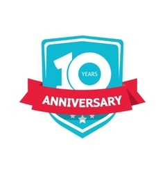Ten 10 years anniversary sticker blue 10th vector
