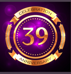 Thirty nine years anniversary celebration with vector