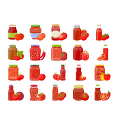 Tomato sauce ketchup in glass jar with vegetable vector
