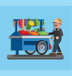 tukang sayur keliling indonesian vegetable seller vector image