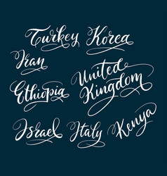 Turkey and korea hand written typography vector