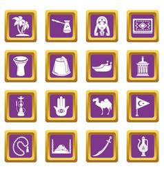 Turkey travel icons set purple square vector