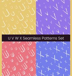 u v w x latin letter seamless patterns set vector image