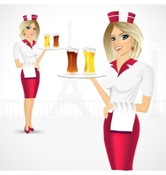 Waitress holding a tray with beer glasses vector