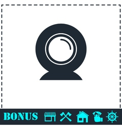 Web camera icon flat vector