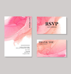 Wedding pink watercolor shapes save date vector