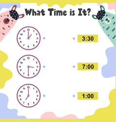 What time is it worksheet for kids telling time vector