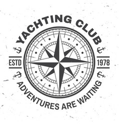 yacht club badge concept for yachting vector image