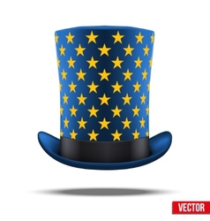 Blue big wizard hat cylinder with gold stars vector