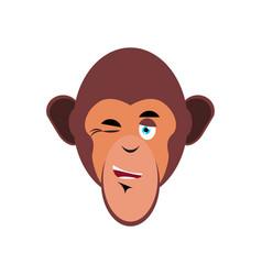 Monkey winking emoji marmoset merry emotion vector
