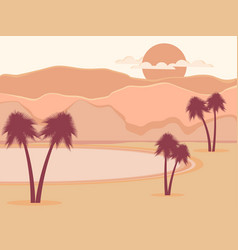 oasis with palm trees desert vector image vector image