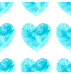 Stylish pattern with watercolor blue hearts vector image vector image