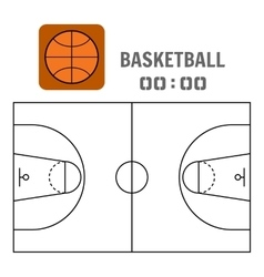 Basketball court and the plan field Sports ball vector image
