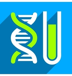 Genetic Analysis Flat Square Icon with Long Shadow vector image vector image