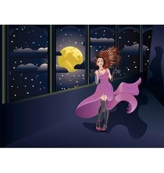 Girl in Purple Dress on Balcony vector image