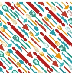 kitchen cutlery tools pattern vector image