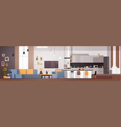 modern apartment interior with living room and vector image