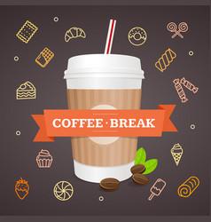 realistic 3d paper cup coffee break concept vector image