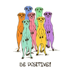 Sketch with funny colorful meerkats vector